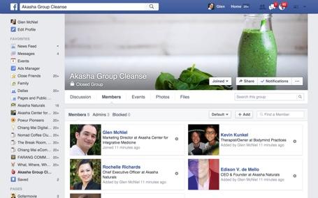Facebook Cleanse Group Screenshot
